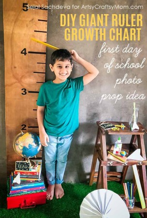 This DIY Giant Wooden Ruler Growth Chart is useful for marking your child's height as they grow. Perfect as a First Day of School Photo Prop too.