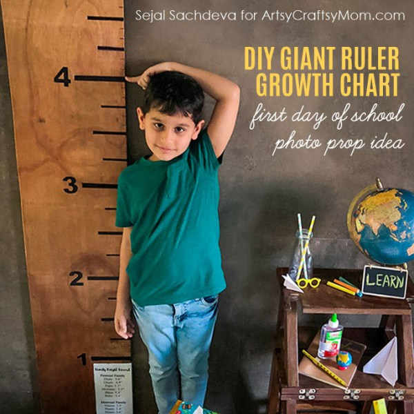 This DIY Giant Wooden Ruler Growth Chart is useful for marking your child's height as they grow.Perfect as a First Day of School Photo Prop too.