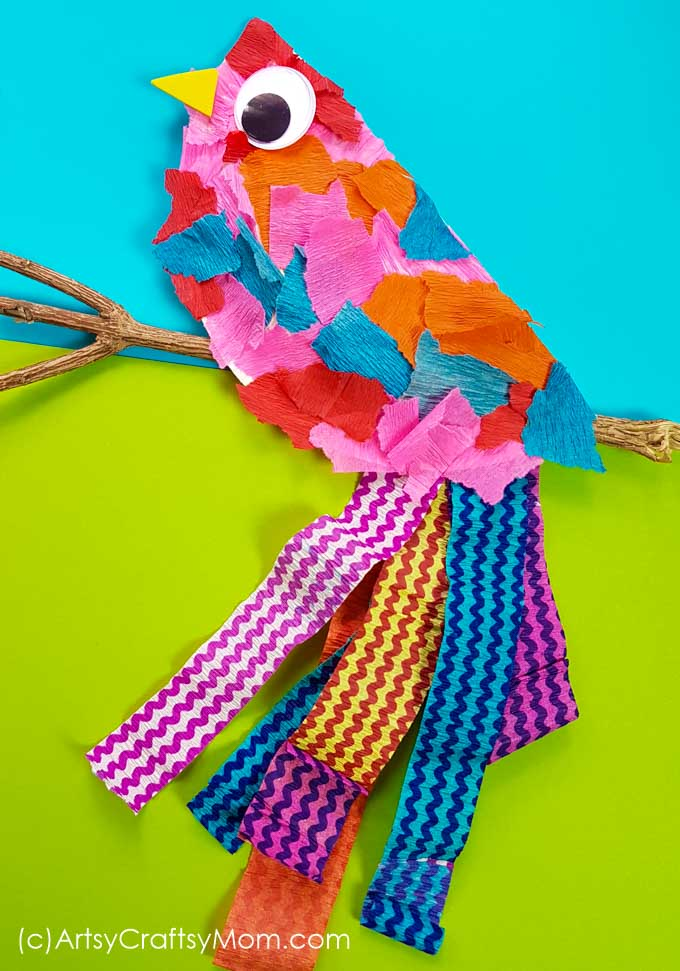 The paper plate bird craft using torn pieces of crepe paper and apaper plate is unbelievably easy to create. A perfect DIY for your preschooler.