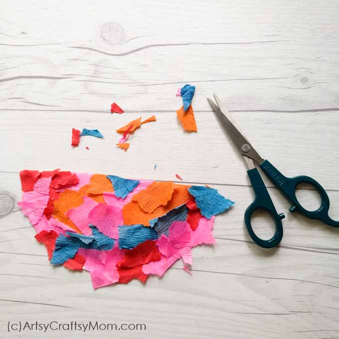Paper Plate Bird Craft Using Torn Crepe Paper Artsy Craftsy Mom