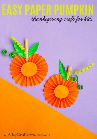Easy Paper Pumpkin Thanksgiving Craft for kids