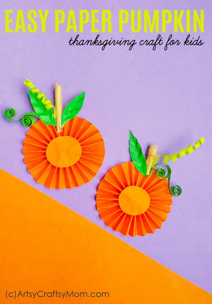This Easy Paper Pumpkin Thanksgiving craft is bound to be a hit with kids. The step-by-step tutorial makes it an enjoyable group activity. Use it as a decor piece or for personalized cards!