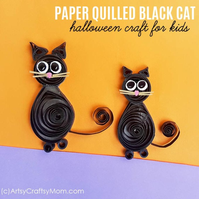 The paper quilling black cat craft brings together elements of fun and spookiness in equal parts. Halloween card kids would love to create. #quilling #halloween #kidscraft
