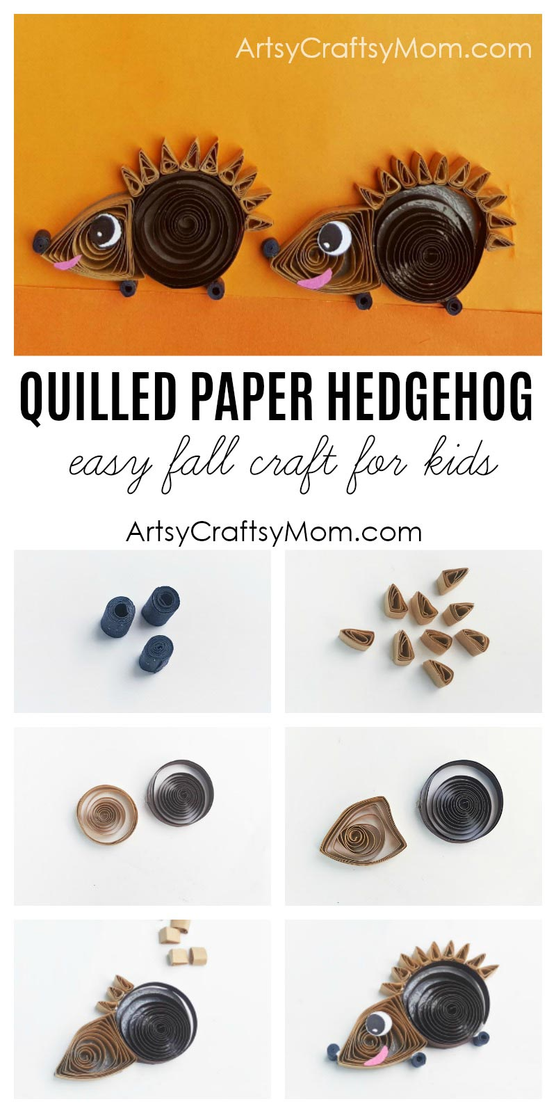 There's no fear of pricking your fingers with this Paper Quilled Hedgehog Craft!! Easy fall craft for kids, or to learn about woodland animals.