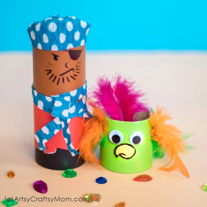 Aaargh!!! Make this cardboard tube pirate & parrot craft and get ready for some fun adventures at sea! Perfect for imaginative or small world play.