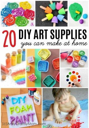 Learn how to make DIY Art Materials -From Homemade clay, glitter glue, Edible Paint, Watercolor, Stamps, Chalk Paint, DIY Glitter to DIY Puffy Paint & more, right at home!