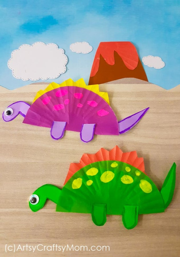 Here's a cute cupcake liner dinosaur craft, perfect for preschoolers and early school goers to try! Cut out the shapes and let them do the rest!
