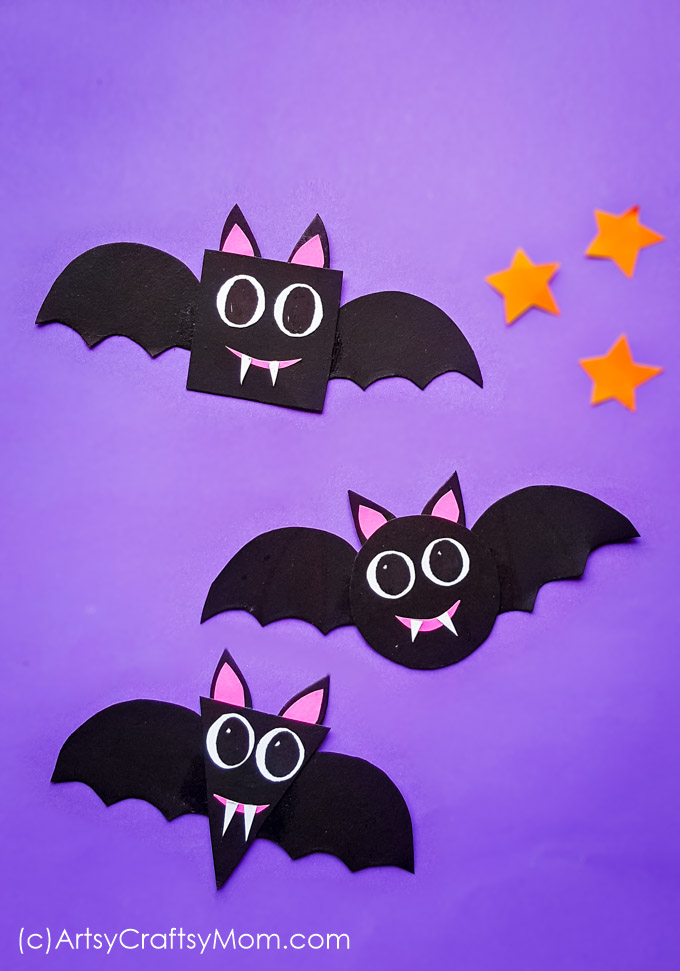 Shape Bats Halloween Paper Craft For Preschoolers+Free Template - enjoy talking about Bats, shapes while working on scissor skills too!