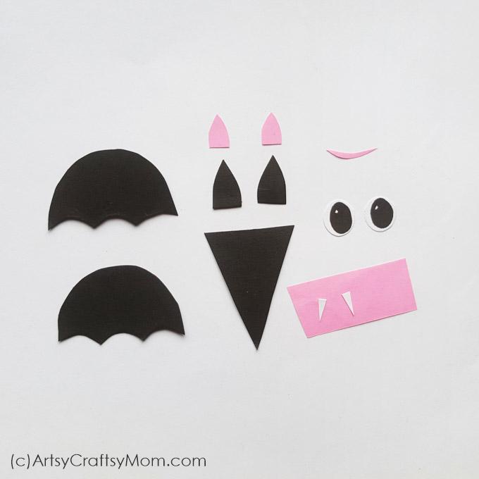 Shape Bats Halloween Paper Craft For Preschoolers Free Template