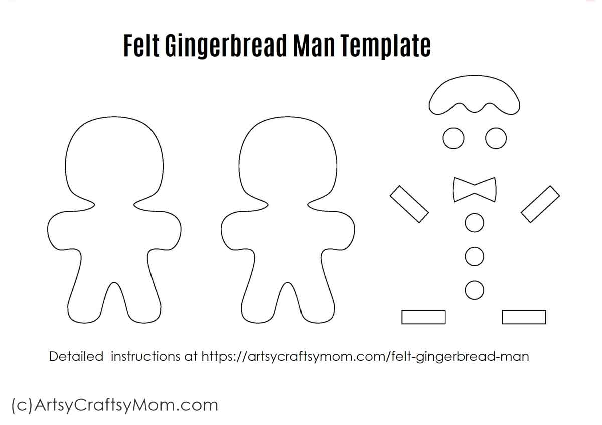 Felt Gingerbread Man Christmas Ornament Craft For Kids