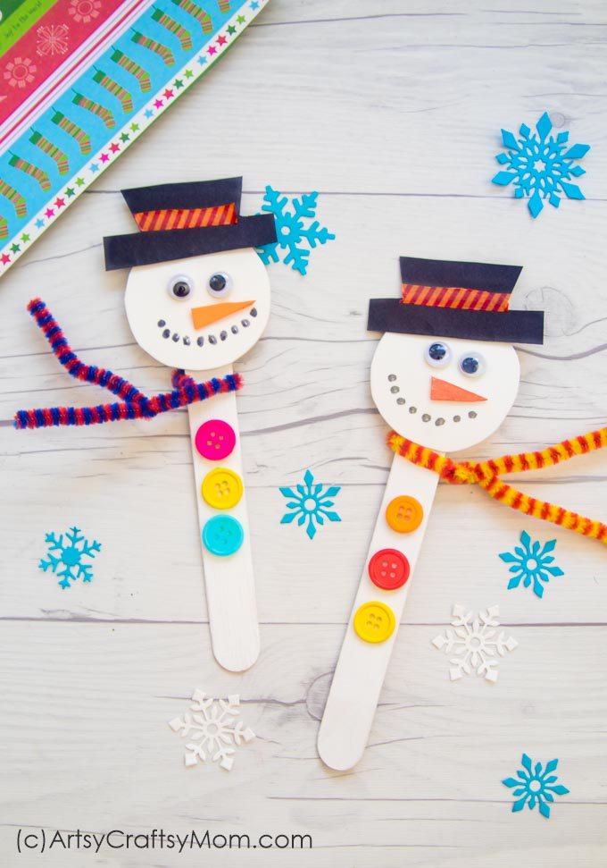 This Popsicle Stick Snowman is one of the easiest crafts you can make this Christmas! Even younger kids can assemble the parts themselves.