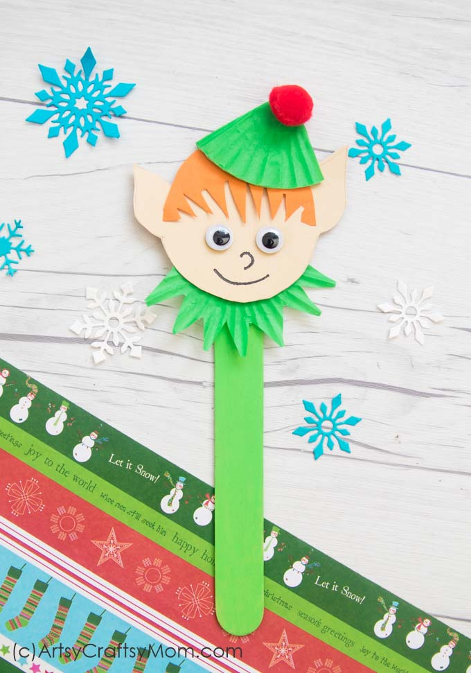 This Popsicle Stick Elf is just what you need to add a mischeivous touch to your Christmas tree! Perfect as a bookmark for holiday reading!