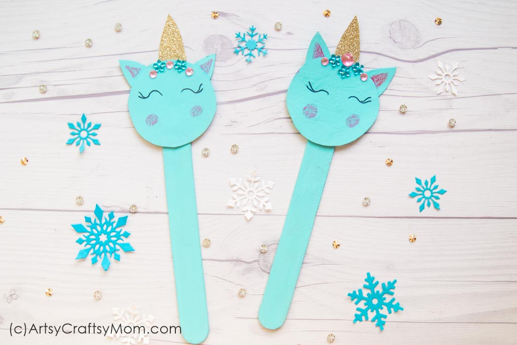 Our Popsicle Stick Unicorn Craft is the perfect way to make your holidays even more magical! With a glittery horn & rhinestones, this is one pretty unicorn!
