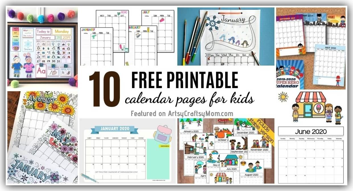 10 Free Printable Calendar Pages For Kids For 2020 2021