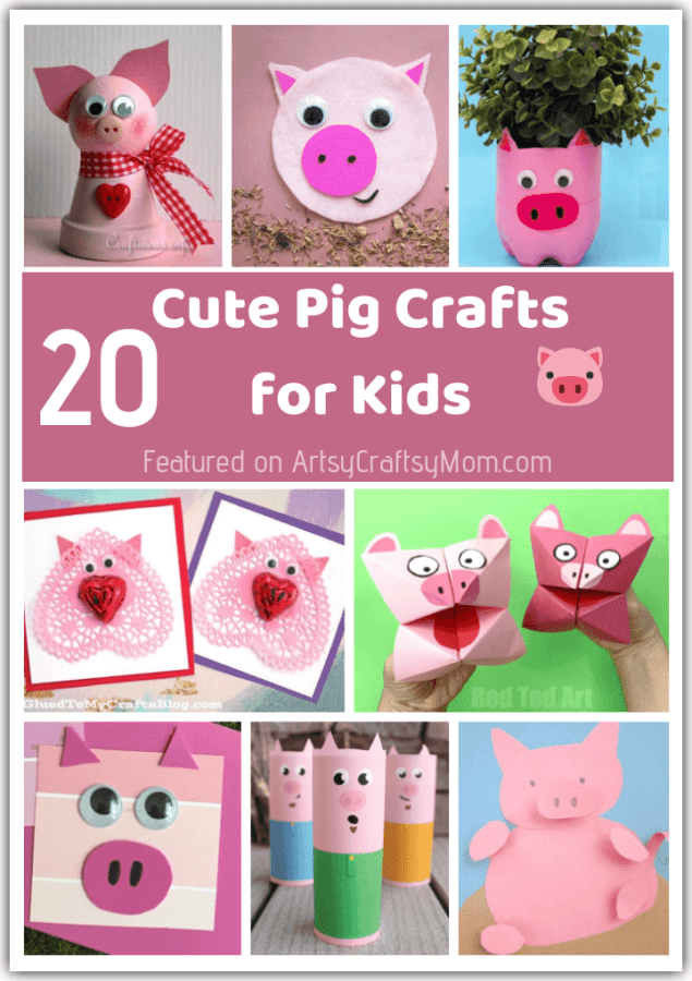 Celebrate the Chinese New Year of the Pig with these pink and playful Pig Crafts for kids! Craft pigs out of paper, cereal boxes, clay pots, rocks and more!