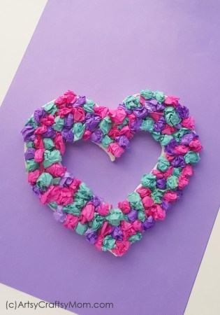 DIY Crepe Paper Heart Wreath for Valentine's Day