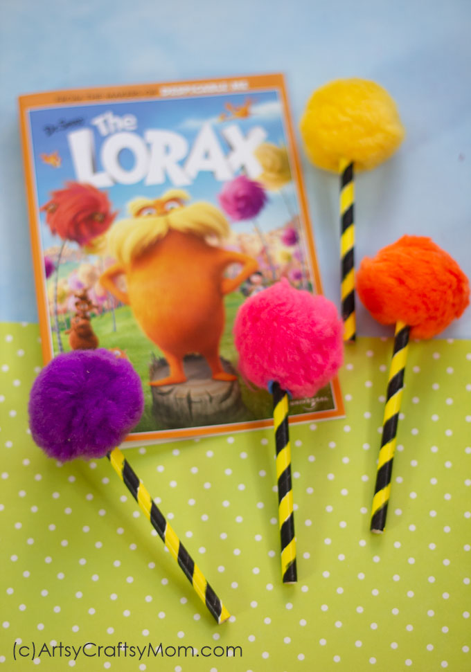 The Lorax Inspired Truffula Tree Craft Dr Seuss Craft For Kids
