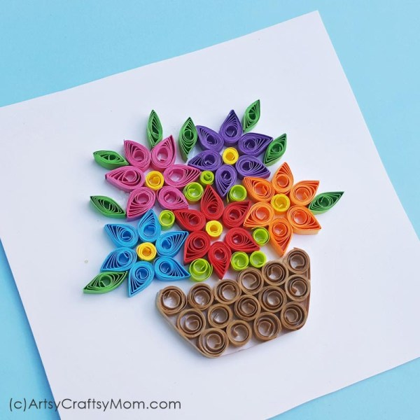 Ready for spring? Celebrate the start of the season with a lovely Paper Quilled Spring Flower Basket Card that'll remind you of blooming meadows and birds!