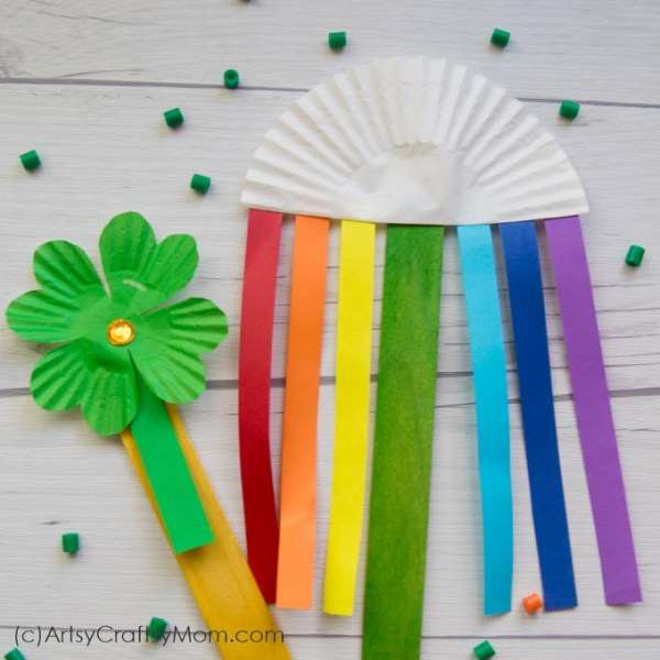 Celebrate two classic icons of St Patrick's Day with our Rainbow and Shamrock Popsicle Stick Craft! All you need are cupcake liners, craft sticks and paper!