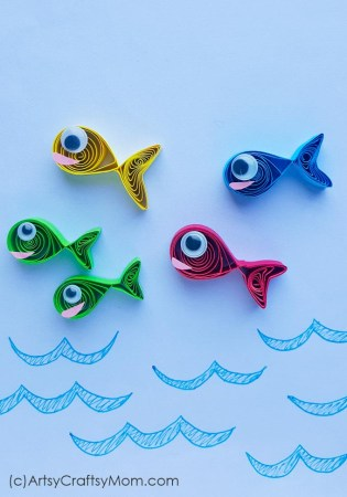 Learn about numbers and colors with the help of the Dr Seuss book, One Fish Two Fish Red Fish Blue Fish, and this One Fish Two Fish Paper Quilling Craft!