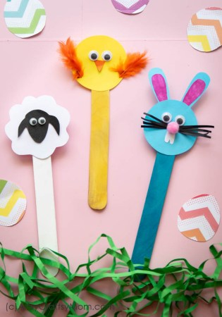 Popsicle Stick Easter Crafts – Bunny, Chick and Sheep