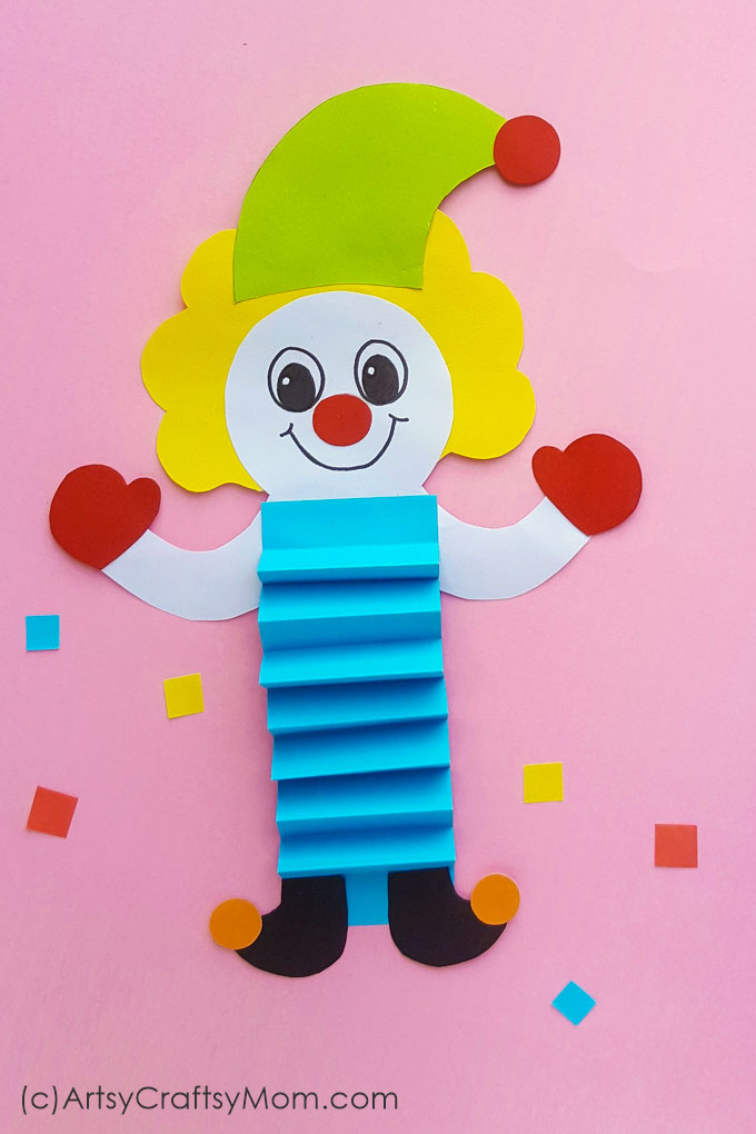 image about Printable Craft for Kids known as Paper Clown Puppet for Children + No cost Printable Template