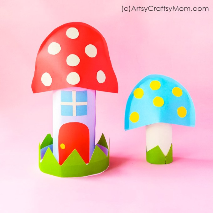 This Paper Mushroom House Craft will make a perfect addition to your little fairy tale village! Get cardboard rolls in many sizes for a variety of houses!