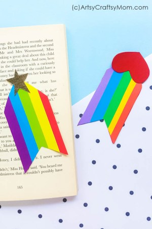 DIY Rainbow Heart Bookmark
