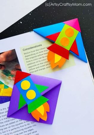 DIY Rocket Corner Bookmark for Kids
