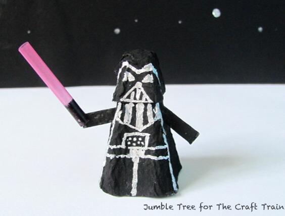 Recycle your emptyegg cartons to make egg carton Darth Vader Craft - ArtsyCraftsyMom