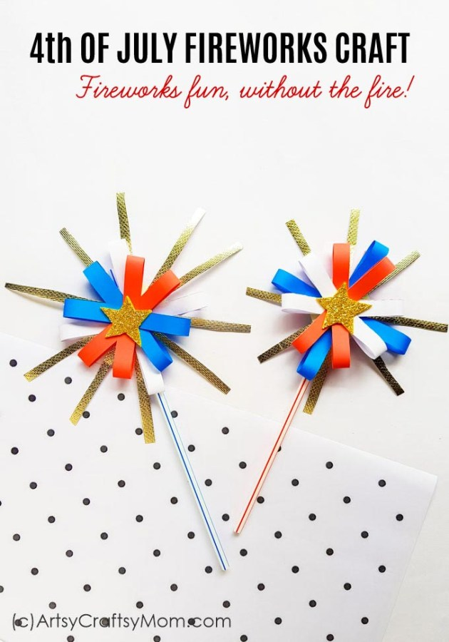 This 4th of July, have fun without the fire - with this 4th of July Fireworks Craft for Kids! Easy to make with craft paper and glitter paper.