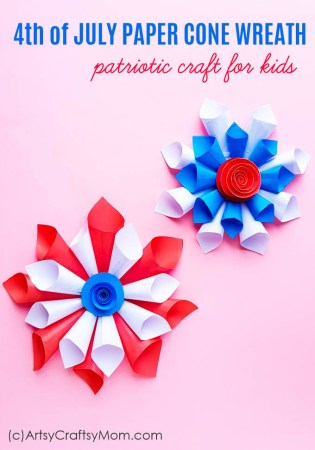 This 4th of July Paper Cone Wreath is just what you need to decorate your home in time for Independence Day! Hang it on your door or use it as party decor.