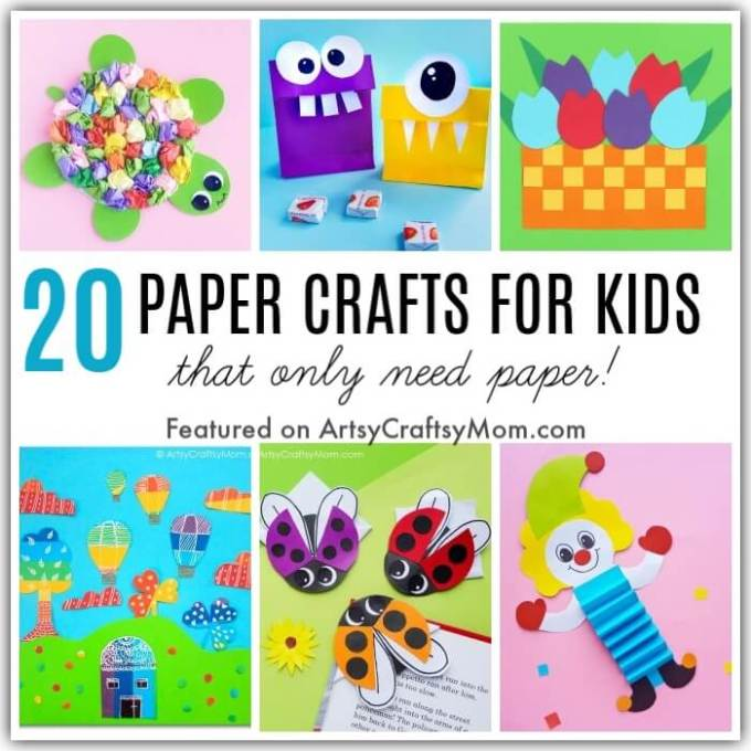 Have only paper to craft with at home? No problem! You can still keep your kids busy - with these 20 awesome Paper Crafts for Kids - that need Only Paper!