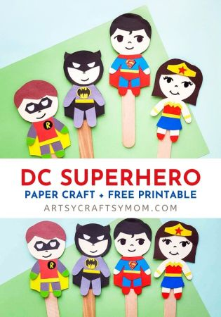 Check out our DC Superhero Paper Puppet Craft - with Free Printable Template to make your own Batman, Superman, Wonder Woman, and Green Lantern Puppets