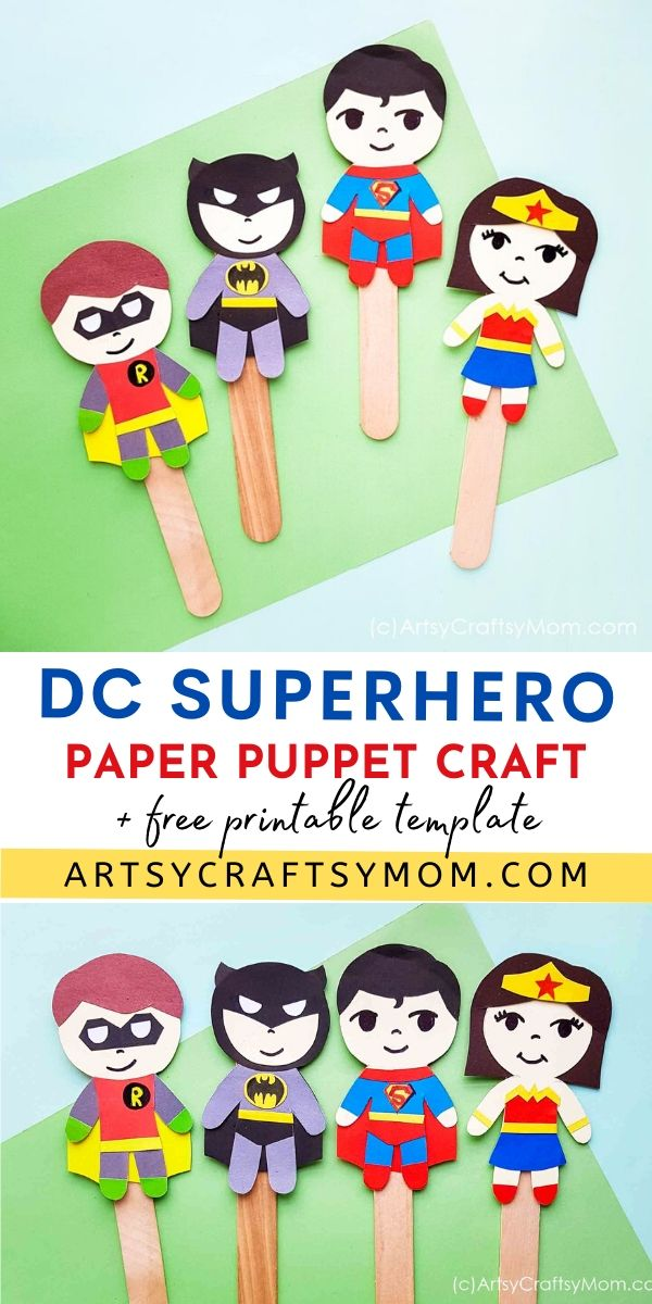 If you secretly have a favorite superhero, now's your chance to bring it out! Check out our DC Superhero Paper Puppet Craft - with Free Printable Template!