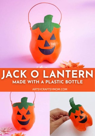 Learn how to make this cute Halloween pumpkin or Plastic Bottle Jack O Lantern Craft luminary from a 2-liter soda pop bottle.