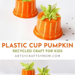 This recycled plastic cup pumpkin craft is super cute and so easy to make! All you need is a plastic cup, paint, paper and you're all set!