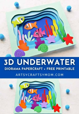 Let's make this gorgeous 3D Underwater Shadow Box Craft and use it to learn more about the creatures that live under the seas and oceans!