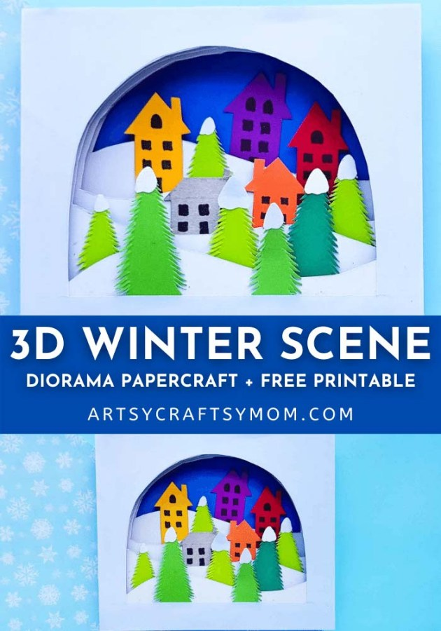 Bring winter home early with this 3D Winter Scene Shadow Box Craft! Set up a gorgeous white winter scene with trees, houses and more!