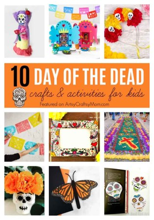 Celebrate Dia De Los Muertos with our 10 Day of the Dead Crafts for Kids, including skulls, paper marigolds,  tissue paper banners, flower headbands, free printables & more!