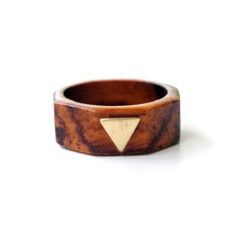 Wood &Brass Triangle Ring from Of Matter