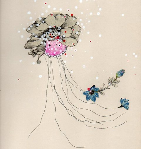 Flowering Jelly #5 by Jenny Brown | artsy forager #art #collage #flowers