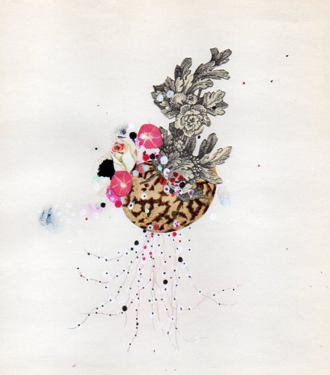 Flowering Egg by Jenny Brown | artsy forager #art #collage #flowers #egg