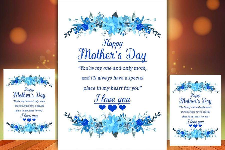 Printable Mother's Day Card with blue flowers and editable text