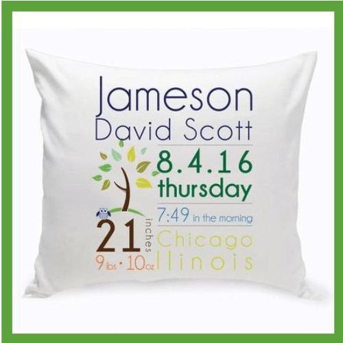 Personalized baby birth stats pillow