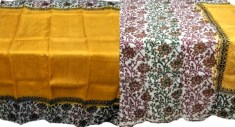 Partly Pallu work and Kalamkari Print on Anchol on Bishnupuri Silk