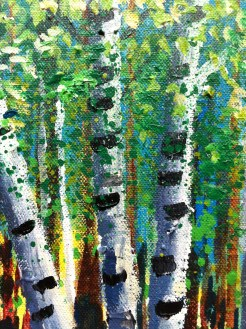 birch trees and an additonal splattered layer of paint