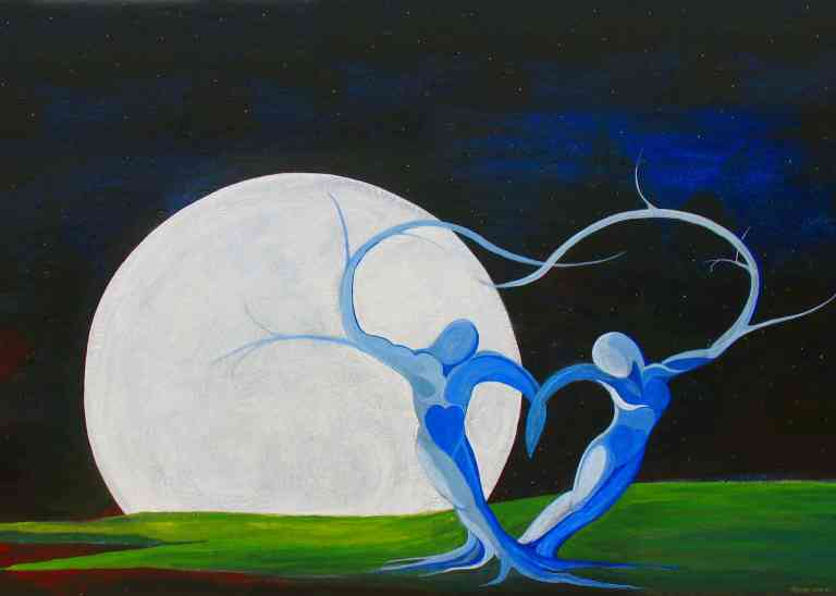 Romantic dryads dance in the moonlight