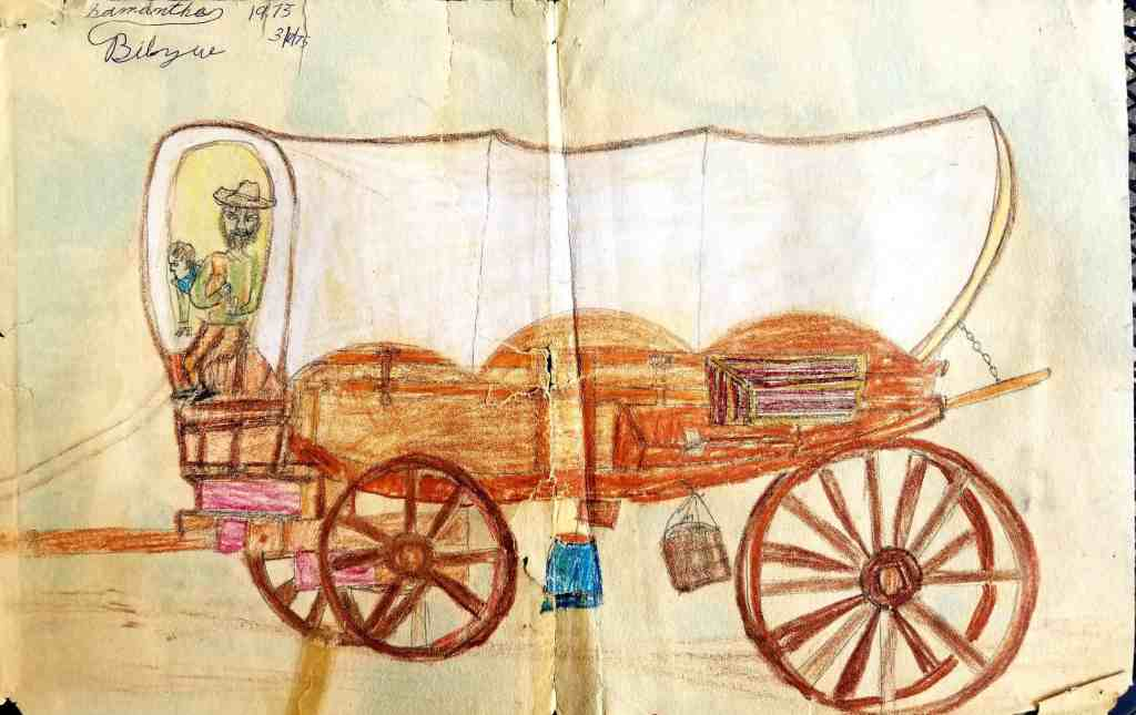 Flame's early drawing of a covered wagon (Age 7)