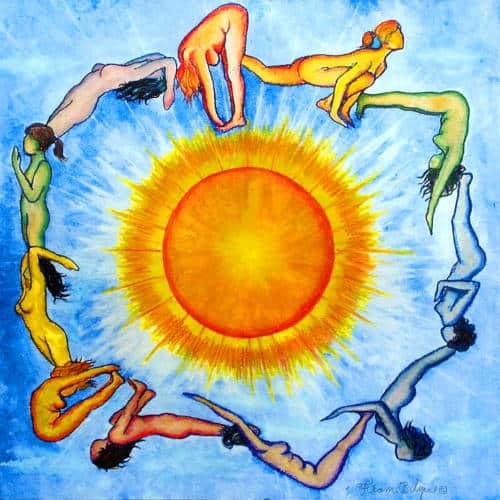 Mandala of women-goddesses worship the summer solstice